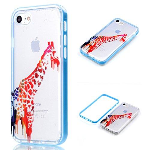 iPhone 8 Coque, Voguecase 2 in 1 TPU + PC avec Absorption de Choc, Etui Silicone Souple Transparent, Légère / Ajustement Parfait Coque Shell Housse Cover pour Apple iPhone 8 4.7 (Campanula bleu)+ Grat Aquarelle girafe