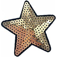 Parche-estrella con lentejuelas -termoadhesivos bordados aplique para ropa,color dorado