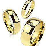 Herren Damen Ring Edelstahl Zirkonia Kristall Partnerring Ehering gold 59 - Ø 18,95 mm 8 mm