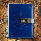 Leather Travel Magazine Gestionnaire personnel Mot de passe Verrouillage Manuel pour ordinateur portable Ordinateur portable Bloc-notes pour enfants...