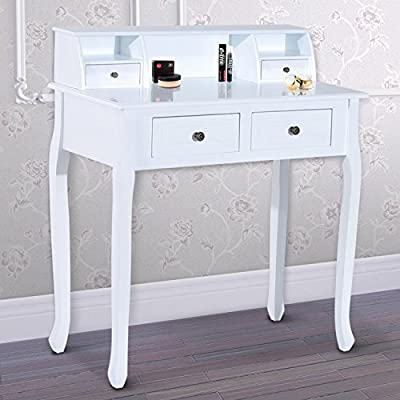 HOMCOM Dressing Table Vanity Make-Up 4 Drawers Dividers Console Desk Bedroom Furniture Nightstand Cosmetic Storage White - low-cost UK light store.