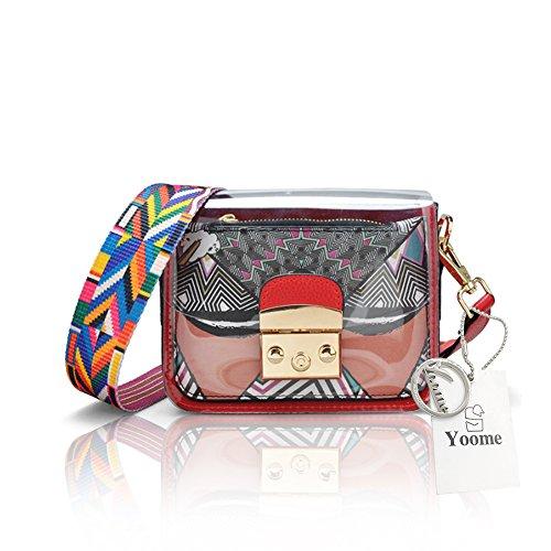 Yoome Cartoon Contrast Colore Flap Jelly Bag Transparent Beach Cintura New Chic Crossbody Borse - Tenda Bianca Faccia rossa