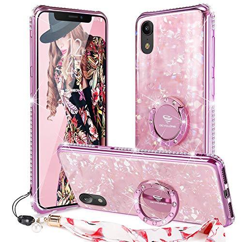 Bling Bling Strass Case (OCYCLONE iPhone XR Case, Cute Glitter gehärtetes Glas Zurück + Bling Diamond Strass Bumper mit Ring Ständer für iPhone XR Protective Phone Case für Damen Mädchen - Rosa)