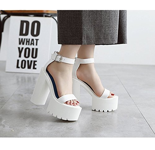 GTVERNH-l'estate scarpe bianche muffin super superficiale bocca bianca col tacco sandali dura sandali night club subacqueo sandali.,36 Thirty-nine