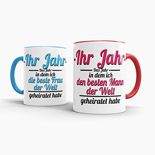 Tassendruck Partner-Tassen Besten Mann, Beste Frau geheiratet/-Ihr Jahr -/Individuell/Selbst gestalten/Liebe/Ehe/Hochzeits-tag/Geschenk-idee/2er Set/Innen & Henkel Rot und Hellblau