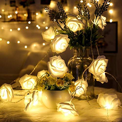 Leezo 10 LED Batterie Betrieben Warm White Rose Blume 1,5 mt Fee String Licht für Valentinstag Dekoration Hochzeit Schlafzimmer Garten Weihnachtsdekor (Blau, Rot, Weiß)