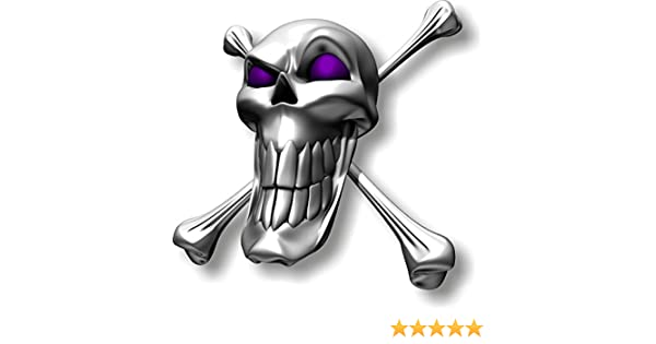 facing left Vinyl sticker//decal Extra large 230mm long smile skull with purple eyes