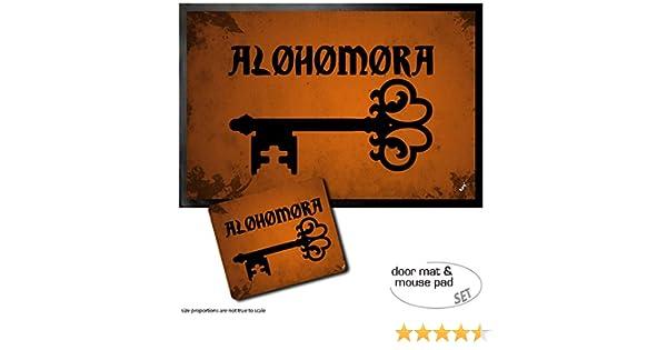 23x19 cm Sortil/ège De D/éverrouillage Alohomora Set : 1 Paillasson Essuie-Pieds 60x40 cm - Formules Magiques + 1 Tapis De Souris