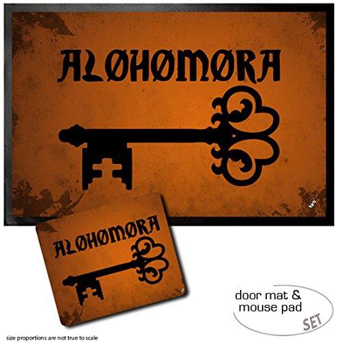 1art1® Set: 1 Felpudo Alfombrilla (60x40 cm) + 1 Alfombrilla para Ratón (23x19 cm) - Hechizos Mágicos, Alohomora, Encantamiento De Apertura