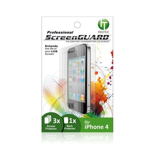 3x Bildschirm Schutzfolie mit 1x Back Protector (Schutzfolie für Rückseite) / Screenguard / Screen Protector Folie für iPhone 4 und 4S Marke Incutex