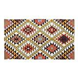 Homescapes handgewobener Teppich mit Buntem, Geometrischen Druck, 100% Baumwolle, Oslo, 90 x 150cm