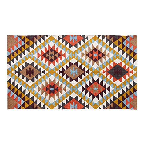 Homescapes handgewobener Teppich mit Buntem geometrischen Druck, 100{58d83f00eeb2d681bd4add221d6022cb4dfc763139bfcce4587751d9e81143e7} Baumwolle, Oslo, 120 x 170cm