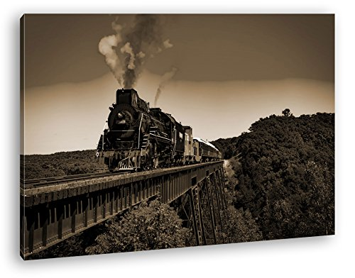 deyoli Atemberaubend altmodische Lokomotive Format: 100x70 Effekt: Sepia als Leinwandbild, Motiv fertig gerahmt auf Echtholzrahmen, Hochwertiger Digitaldruck mit Rahmen, Kein Poster oder Plakat