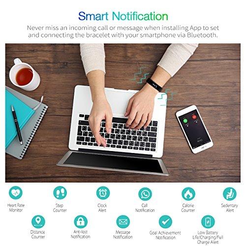 VicTsing Pulsera Actividad y Monitor de Frecuencia Cardiáco, IPx7 Nivel de Resistente al Agua, Bluetooth 4.0, Podómetro, Monitor de Sueño, Control Remoto de Móvil para iOS y Android, iPhone 7/iPhone 6,etc.