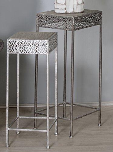 Beistelltisch Dory Metall antik silber / Holz 2tlg.Set (Beistelltisch-set Antik)