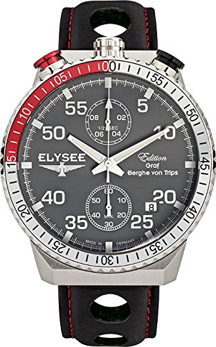 ELYSEE Men's Rally Timer I 44mm Black Leather Band Steel Case Quartz Grey Dial Analog Watch 80516MMG