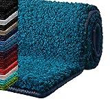 casa pura Badematte Hochflor Sky Soft | Weicher, Flauschiger Badezimmerteppich in Shaggy-Optik | Badvorleger rutschfest waschbar | schadstoffgeprüft | 16 Farben in 6 Größen (rund 95 cm, türkis)