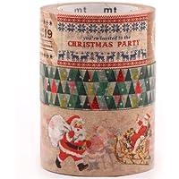 set 3pz nastro adesivo decorativo Washi Natale Babbo Natale festa di natale
