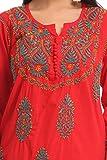 ADA-Hand-Embroidered-Lucknow-Chikan-Cotton-Kurta-Kurti-Regular-Wear-A223392Red