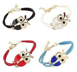 Sorella'z Korean Owl Bracelet Combo of Four for Women