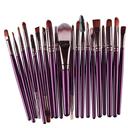 Longra 20 Stück / Set Make up Sets Werkzeuge Make-up Toilettenartikel Ausrüstung Wolle Make up Pinsel Set (Lila) (Make-up Professionelle Pinsel Qualität)