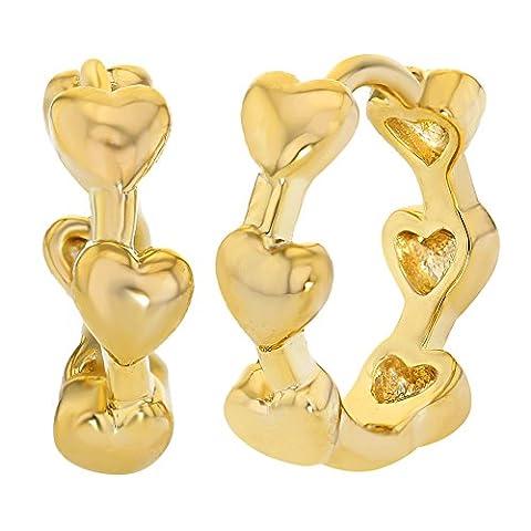14 Karat, vergoldet, Herz, Liebe, kleine Kreolen Ohrringe Lady Teen 10 mm