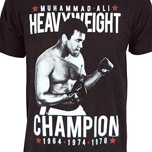 Männer Offizielle Muhammad Ali Cassius Clay Dreimal Welt Schwergewichts Vorkämpfer T Shirt Schwarz Schwarz