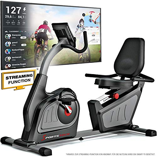 Sportstech ES600 Profi Ergometer - Deutsche Qualitätsmarke -Video Events & Multiplayer APP & integriertemStromgenerator, Pulsgurt optional, HRC + ergonomischem Sitzkomfort, Liegeergometer Heimtrainer