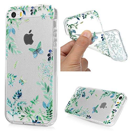 MAXFE.CO Handyhülle für iPhone SE / iPhone 5 Hülle TPU Silikon Tasche Relief / Reliefskulputur Grüner Schmetterling Muster Weich Backcover Handytasche Dünn Etui Case