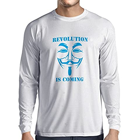 T-Shirt Manches Longues Homme The Revolution Is Coming - the Anonymous hackers mask (X-Large Blanc Bleu)