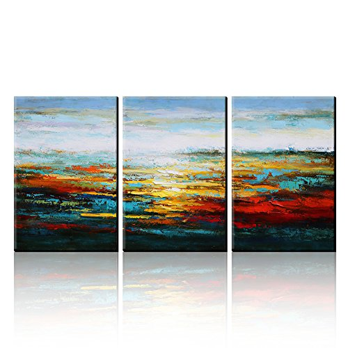 AONBAT Oil Paintings Canvas Art Wall Decor Modern- 3 Pieces Landscape Paintings On Canvas - Acrylic Painting - Ready To Hang 100% Hand-Painted Artwork