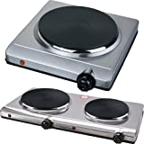 DOUBLE SINGLE HOT PLATE TABLE TOP PORTABLE ELECTRIC TWIN DUAL HOT PLATE SILVER (SINGLE)