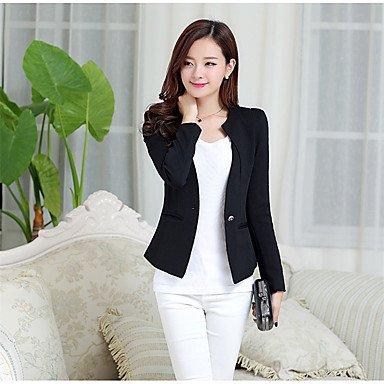 Zhenfu Informel Femme / Daily Simple Printemps Blazer, Solide Col Rond Manches Longues Polyester Régulier Noir