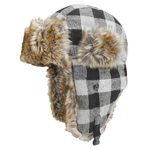 Iglus Herren 's Wolle Blend Trapper Hat, Herren, Gray Plaid Plaid Trapper