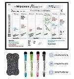 MRLY Home - Magnetischer Wochenplaner - Whiteboard Wochenkalender für den Kühlschrank - abwischbare Magnet-Tafel für Organisation, Menüplanung, Notizen und Einkaufsliste - inkl. 4 Marker & Radierer