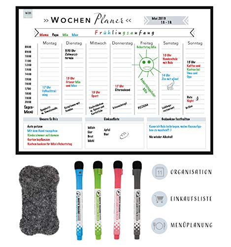 MRLY Home - Magnetischer Wochenplaner - Whiteboard Wochenkalender für den Kühlschrank - abwischbare Magnet-Tafel für Organisation, Menüplanung, Notizen und Einkaufsliste - inkl. 4 Marker & Radierer (Tafel, Kühlschrank)
