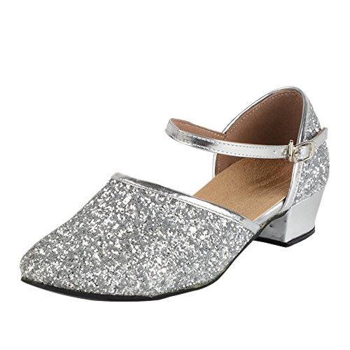 KINDOYO Sommer Mädchen/Damen Flache Schnalle Stil Tanzschuhe Latin Dance Ballroom Schuhe, 28/Silber