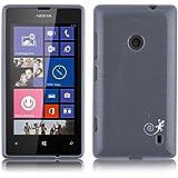 JAMMYLIZARD | Back Cover Hülle für Nokia Lumia 520 Schutzhülle aus Silikon in Gebürstetes Aluminium Optik, SCHWARZ