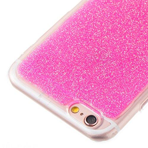 Custodia Cover iPhone 6/6S 4.7 Silicone Morbida,Ukayfe Trasparente Cristallo di Lusso di Bling Glitter Paillettes Disegno per iPhone 6/6S 4.7 Clear Flexible TPU Gel Ultra Sottile Copertura Case Protet Rosa 3#