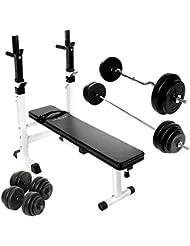 Physionics - Banco de fitness con barra curva, barra larga y 2 mancuernas (incluye 28 discos)