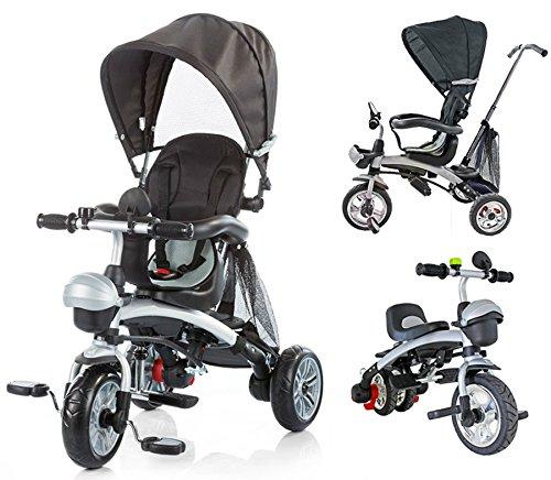 BC Babycoches-Triciclo evolutivo para niños, 3 en 1, multiposicion, con Capota y Manillar.Azul Oscuro...