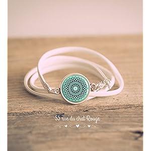 Armband Double-Turn Kunstleder weiß, Cabochon Spirit Marokko, Softblau, Türkisblau,