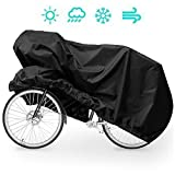 Ploopy Fahrradabdeckung, Wasserdicht dehnbar Fahrradabdeckung, Fahrradschutzhülle Regenschutz Schutzbezug, Gewebeplane Regenschutz Schutzbezug ( 200*70*110cm, XL ,Schwarz )