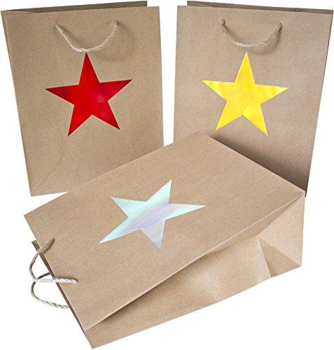 n aus Papier mit Stern-Motiv, 3 Farben (10x rot, 8x gold, 7x silber) ()