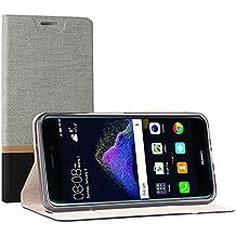 Funda Huawei P8 Lite 2017 , SunFay Cartera Carcasa Flip Folio Caja Piel PU Suave Super Delgado Estilo Libro,Soporte Plegable para Huawei P8 Lite 2017 - Gris