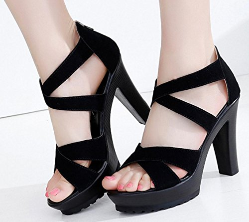HYLM La signora Croce Sandali con tacco punta aperta Grandi sandali in camoscio / cerniere chiuse Black