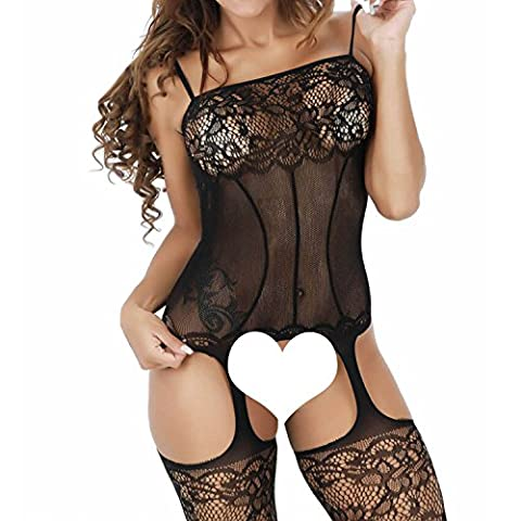 Kinikiss Womens Fishnet Sexy Lingerie Striped Open Crotch Bodysuits Suspenders Bodystockings
