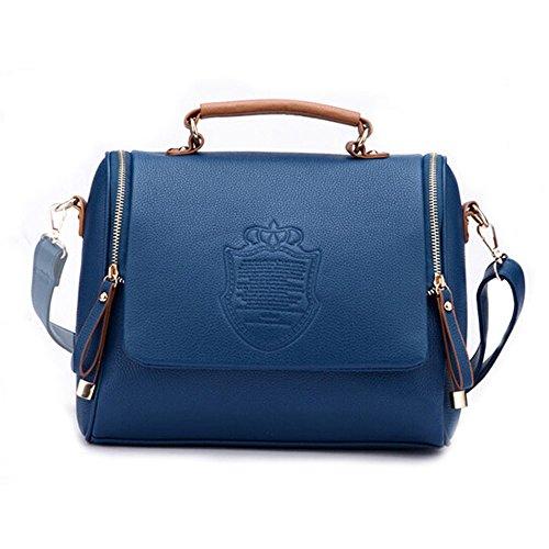DELEY Femme Vintage Angleterre De Style Fourre-Tout Sac À Main Sac À Bandoulière Messager Sacs Bleu