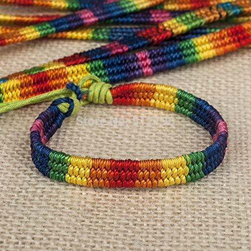 ZUXIANWANG Handschnur,Dicke Nepal Rainbow Lesbian Pride Gay Pride Gewebte Geflochtenes Seil String Strand Freundschaft Armband