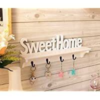 Ticoks Set of 4 Hooks Sweet Home Decorative Wall Hanger Rail Rack for Hat/Keychain/Towel/Hanging Ornament Hanger Rack Holder (SweetHome)